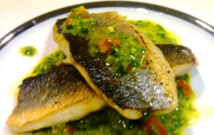 Moist flaky fish, crispy skin and a fresh and bright salsa verde to top it off. Ooooooh it was damn good!
